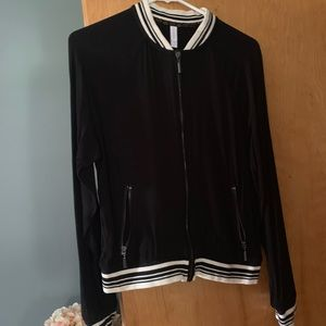 Black with stripped cuffs cotton bomber jacket